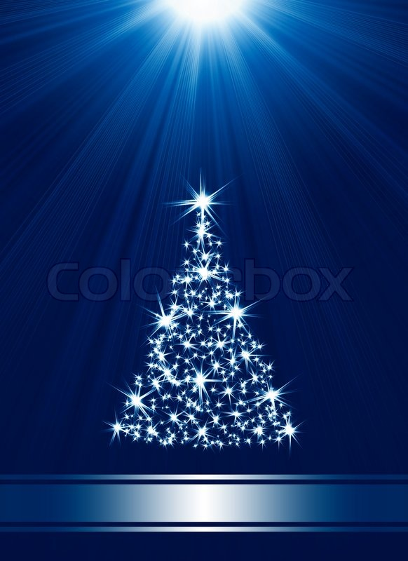 Christmas Tree Made Of Stars Against Blue Background With