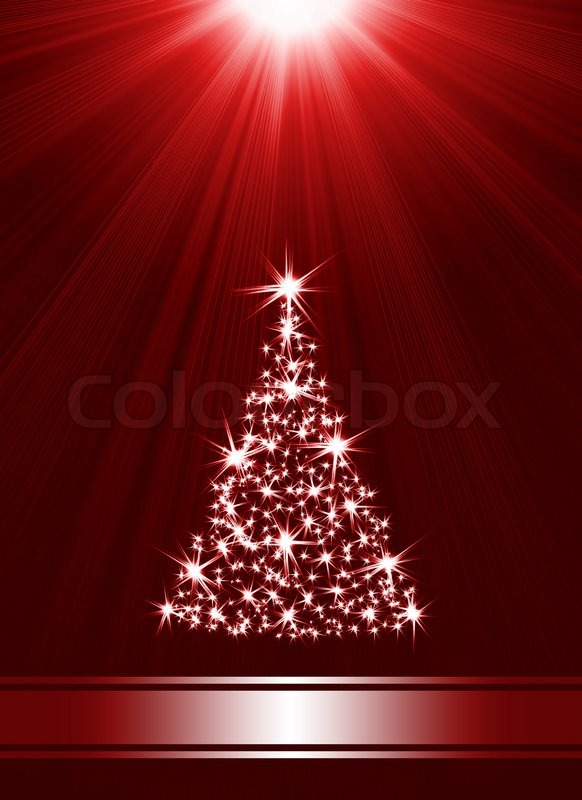 Christmas Tree Made Of Stars Against Red Background With