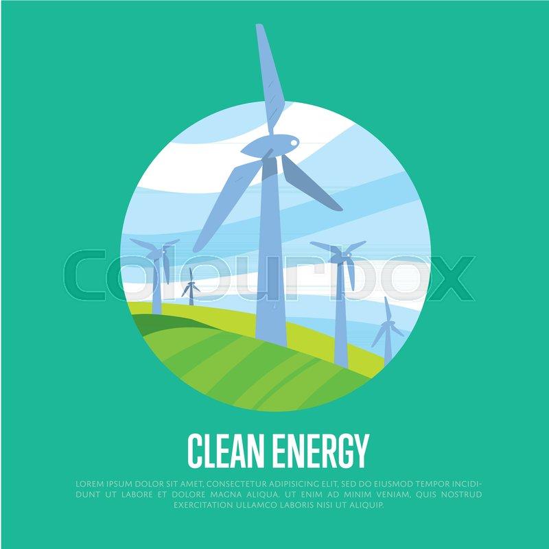 Clean energy vector illustration  Wind       Stock vector