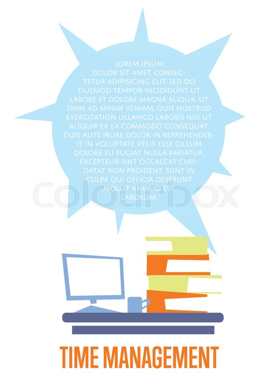Time Management Banner With Desktop Stock Vector Colourbox