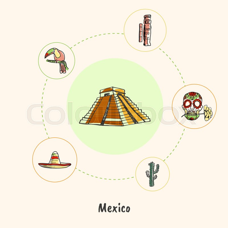 Attractive Mexico Mayas Pyramid Colored Doodle Surrounded Skull