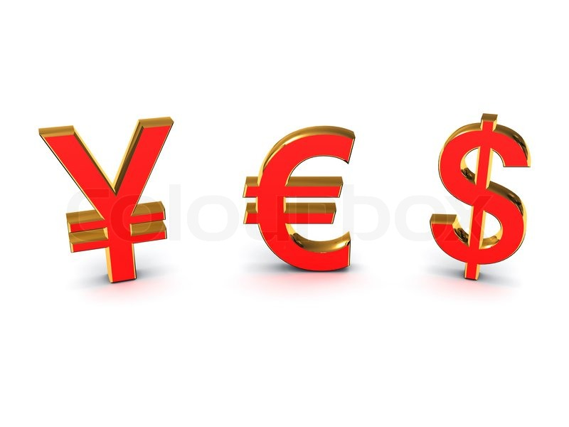 The Word Yes Out Of The Euro And The Yen The Dollar Stock Photo