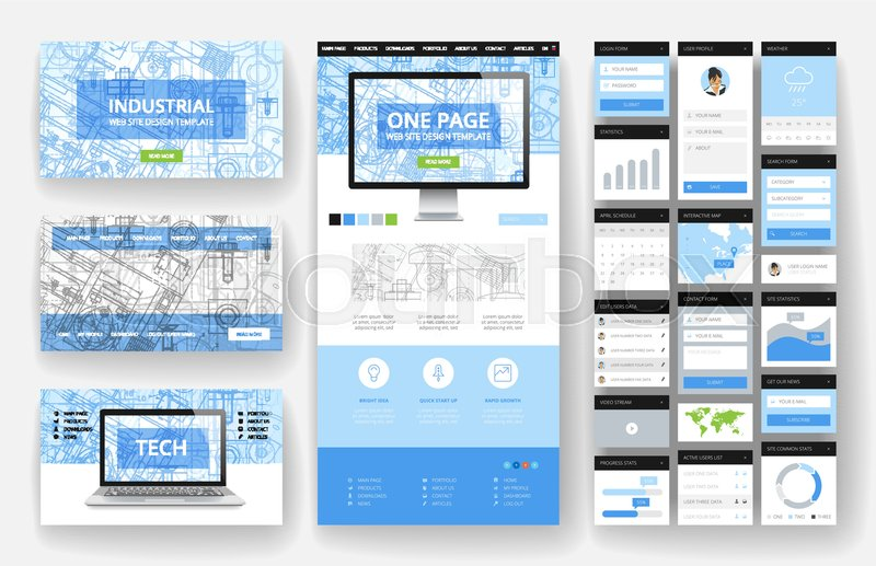 Website template one page design headers and interface elements website template one page design headers and interface elements industrial blueprint backgrounds stock vector colourbox malvernweather Choice Image