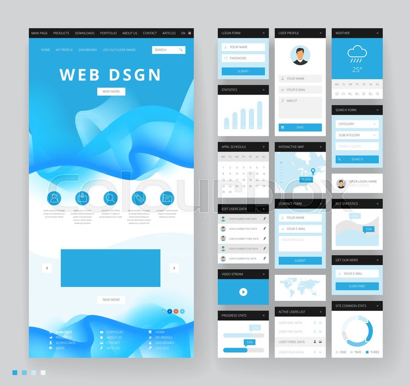 Website template design with interface elements. Vector illustration ...