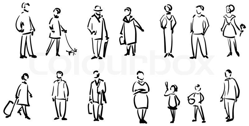 Line Art Person : Menschen skizzieren vektorgrafik colourbox