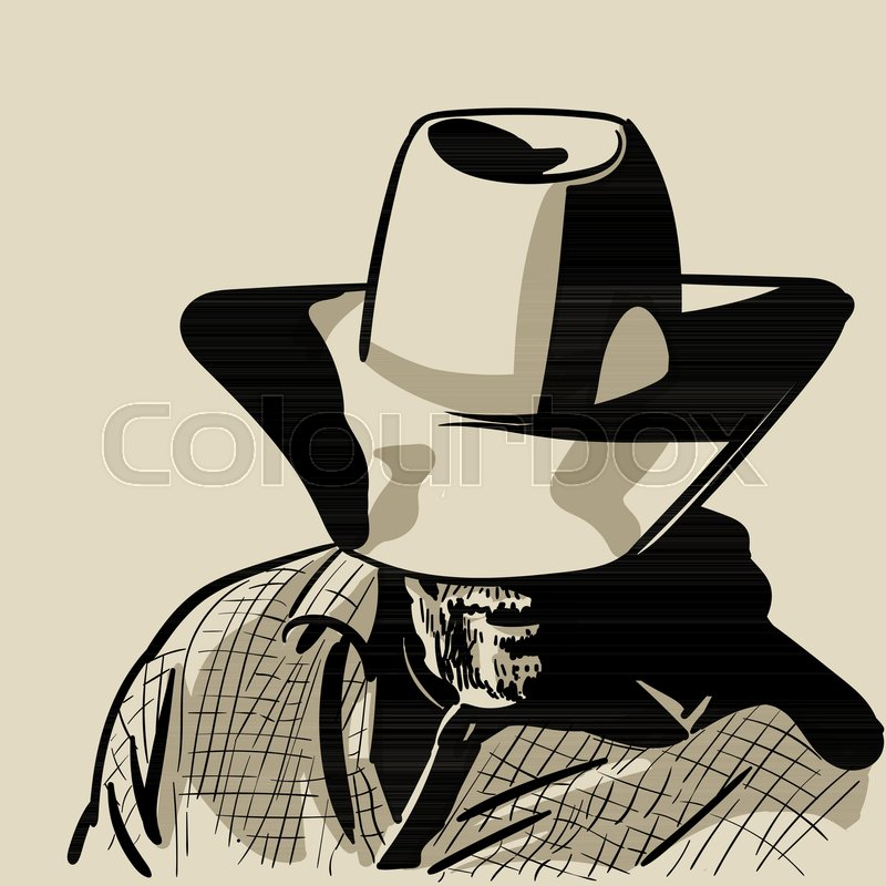 a078feaeb84 Man with cowboy hat and checkered shirt. Western. Portrait. Digital Sketch  Hand Drawing Vector. Illustration