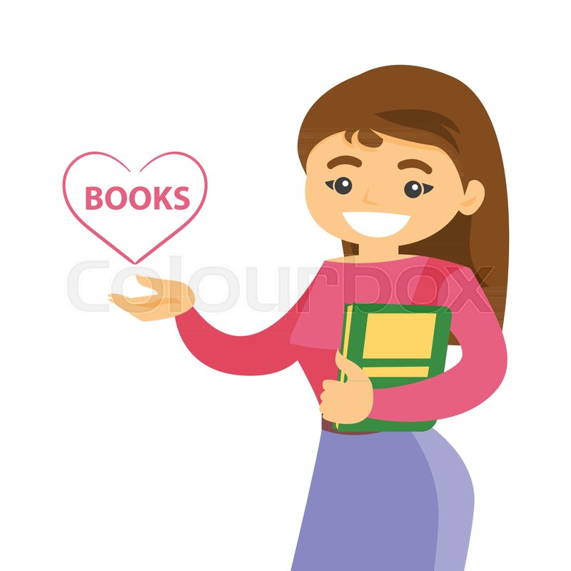 Young Caucasian White Female Student Stock Vector