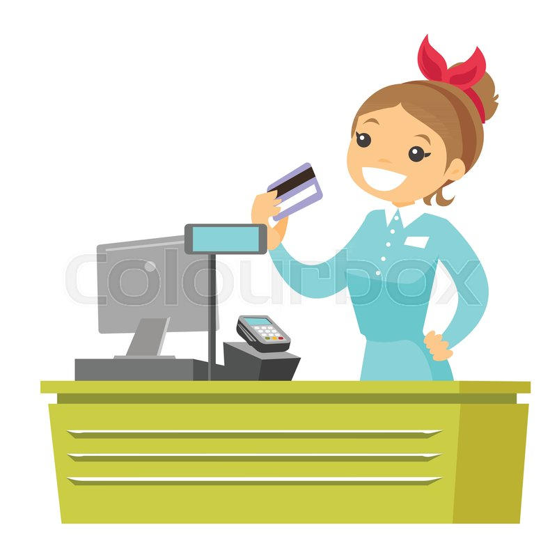 Cashier Cartoons: Young Caucasian White Cashier Holding Credit Card At The