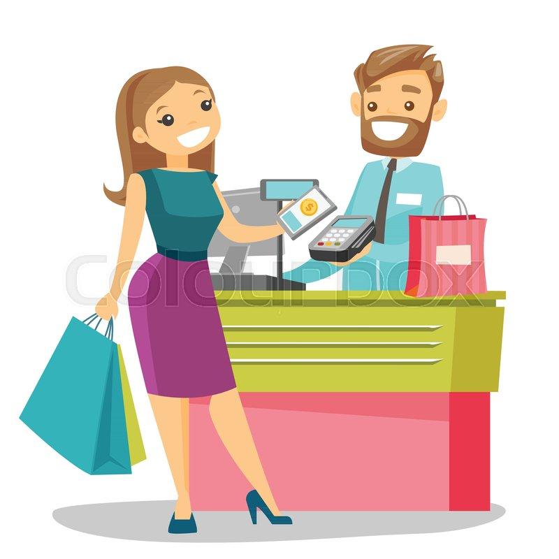 Cashier Cartoons: Young Caucasian White Woman Paying ...
