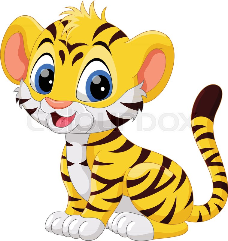 Illustration Of Cute Baby Tiger Cartoon Sitting Isolated On White Background