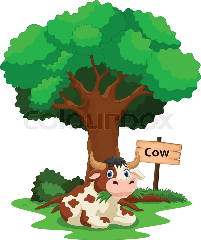 Funny Cow Under A Shady Tree With A Stock Vector Colourbox Children reading cartoon pictures » dondrup.com. funny cow under a shady tree with a