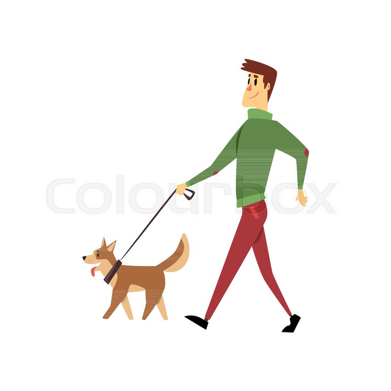 Young man walking with his dogs, cute     | Stock vector