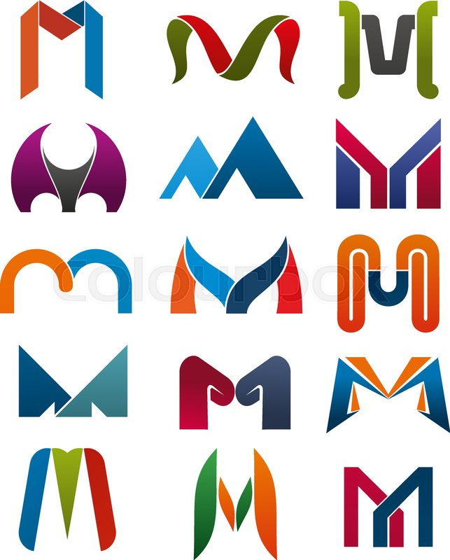 M letter icons template for corporate or business company and brand m letter icons template for corporate or business company and brand name emblem vector letter m set in different abstract geometric shapes and colors for friedricerecipe Images