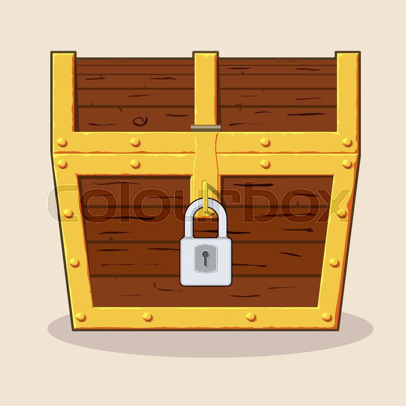 Closed And Locked Wooden Pirate Treasure Chest Front View Flat Style Cartoon Vector Illustration Isolated On White Background