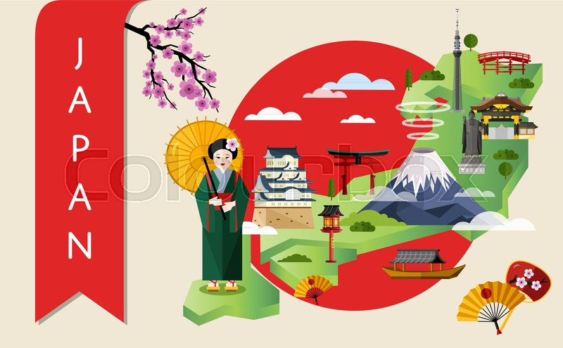 japan famous landmarks and travel map with asian girl in traditional dress on background of red sun circle vector illustration travel concept with japan