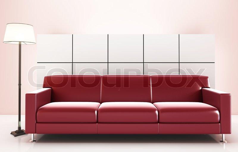 bild mit hoher aufl sung roten sofa stockfoto colourbox. Black Bedroom Furniture Sets. Home Design Ideas