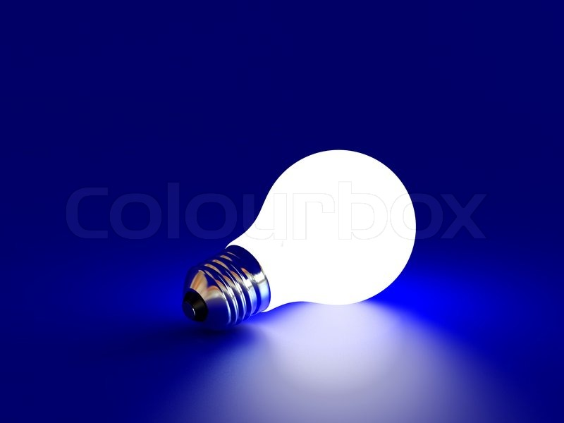 High Resolution Image White Bulb On A Blue Background | Stock Photo |  Colourbox