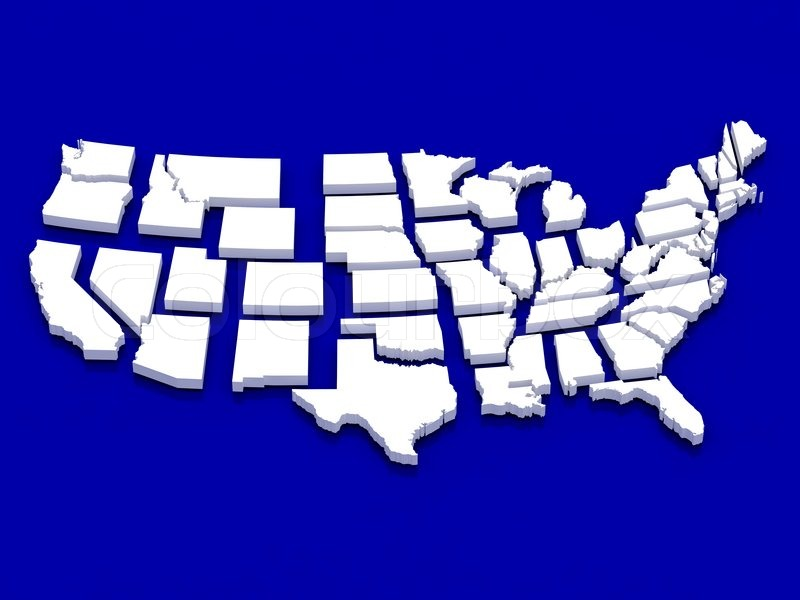 High Resolution Image White Map USA D Illustration Over Stock - 3d us map