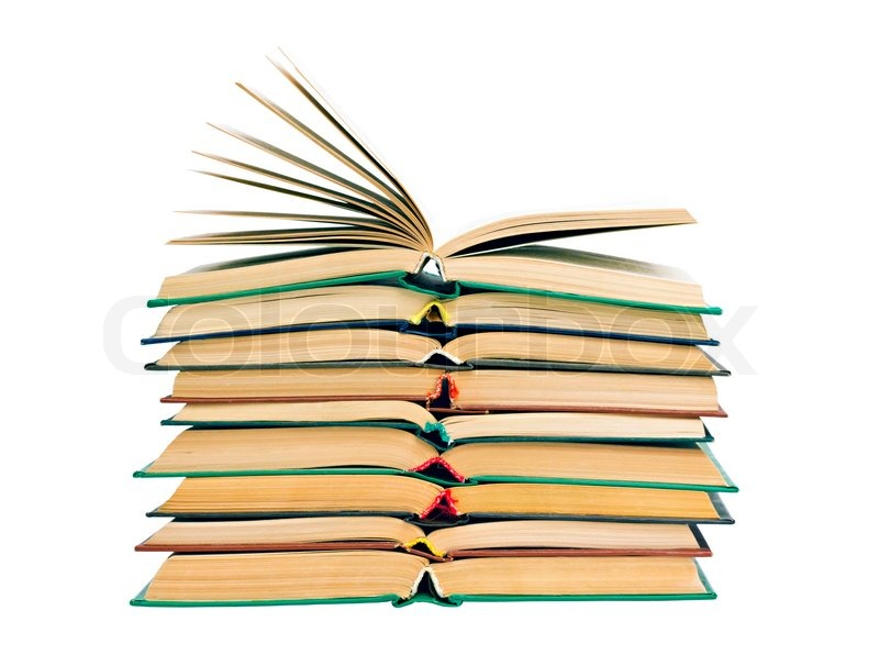 A Stack Of Old Open Books Isolated On Stock Photo