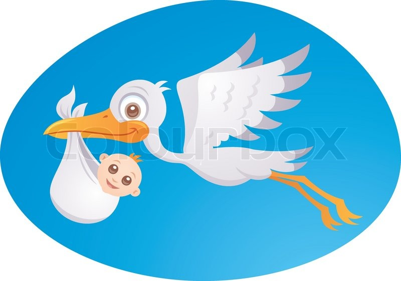 Vector Cartoon Illustration Of A Stork Stock Vector Colourbox