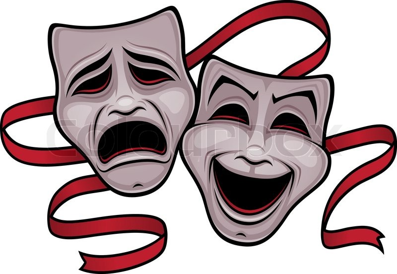 comedy and tragedy theater masks stock vector colourbox