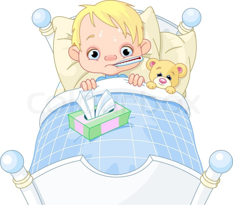 Picture Baby on Stock Vector Of  Cartoon Illustration Of Cute Sick Boy In Bed