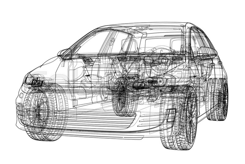 Car sketch. Vector rendering of 3d. Wire-frame style. The layers of ...