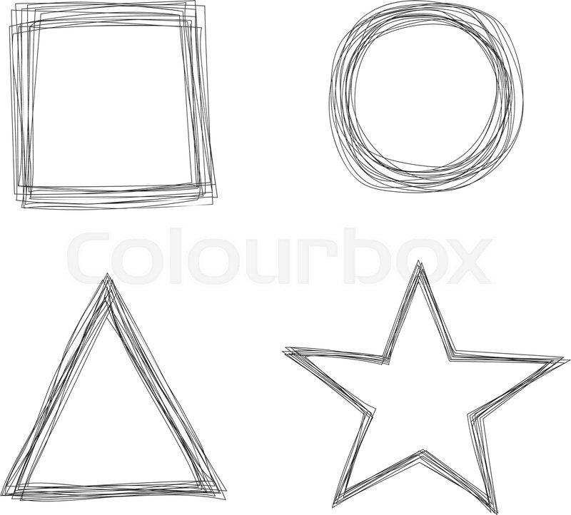 Set Of Vector Sketchy Scribble Thin Line Geometric Shape Frames