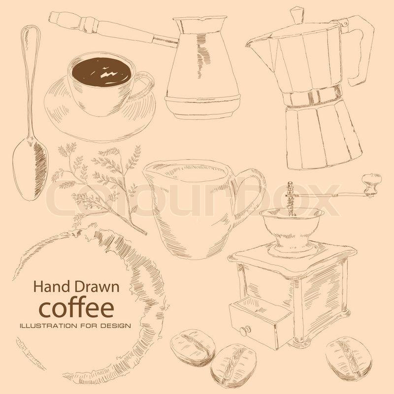 betreff kaffee von hand gezeichnet ist um tasse kaffee kofevrkoy kaffee zrnami ein zweig. Black Bedroom Furniture Sets. Home Design Ideas