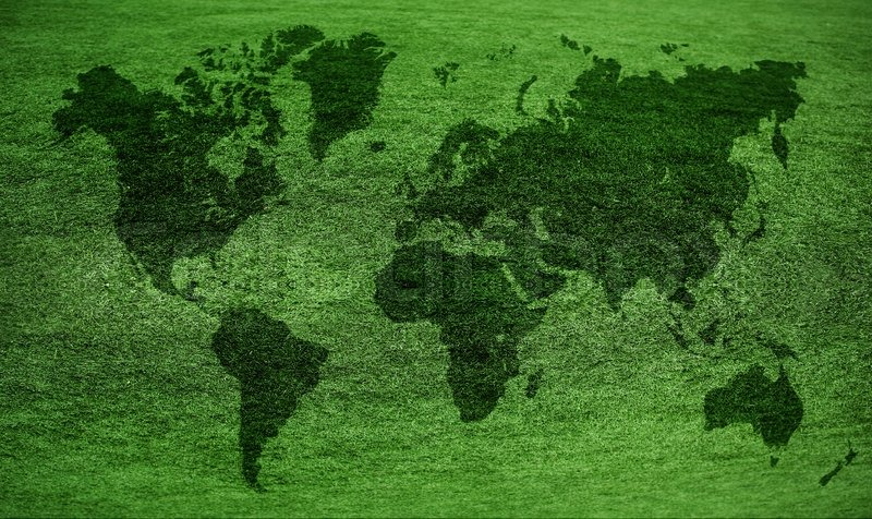 world map on a green lawn
