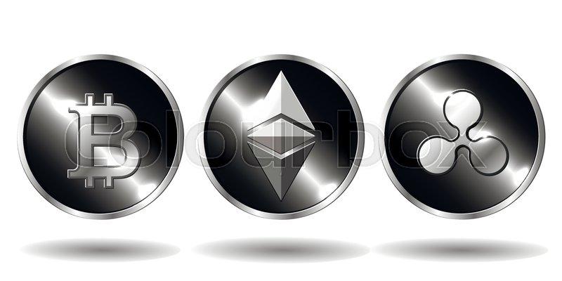 Three physical crypto coins bitcoin,     | Stock vector