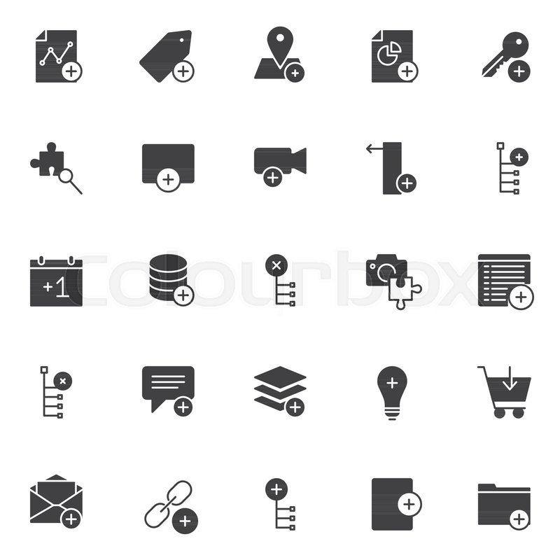 Add Elements Vector Icons Set Modern Solid Symbol Collection