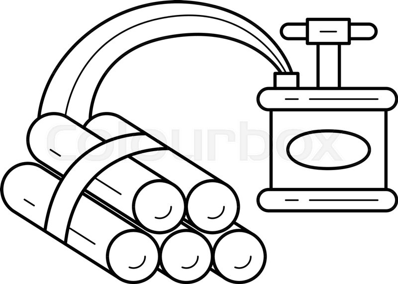 Dynamite Vector Line Icon Isolated On