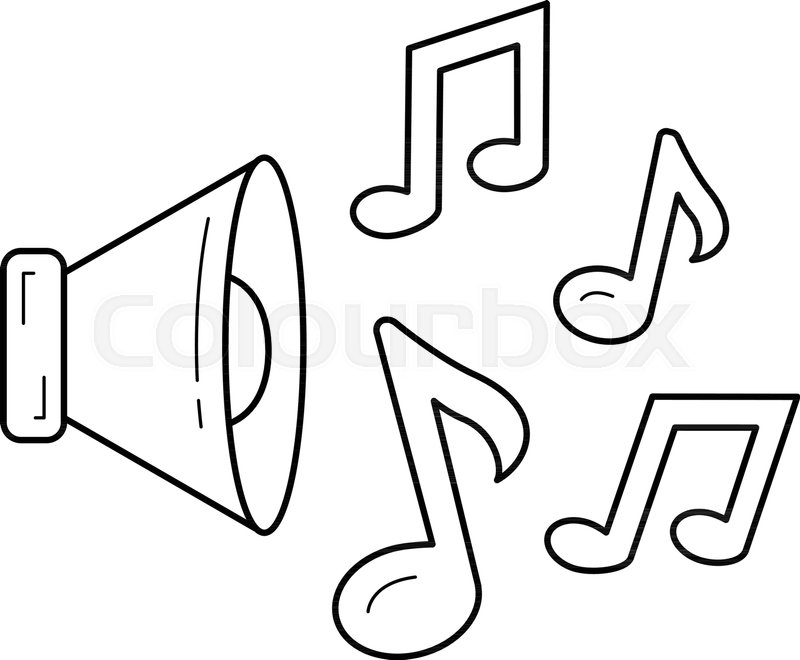 music note vector line icon isolated