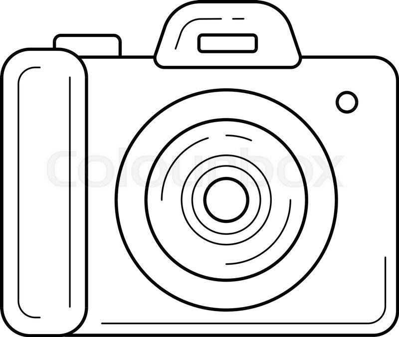 Simple Camera Vector Line Icon Isolated On White Background Photo For Infographic Website Or App Scalable Designed A Grid System