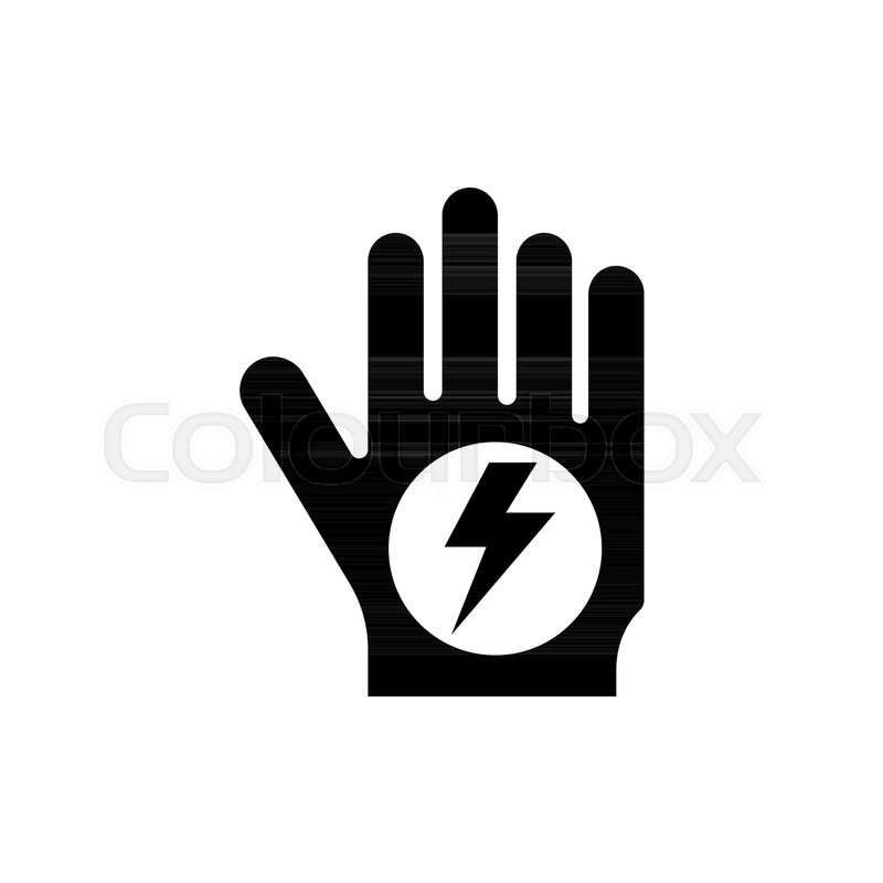 Stop Hand High Voltage Flat Vector Icon Simple Black Symbol On