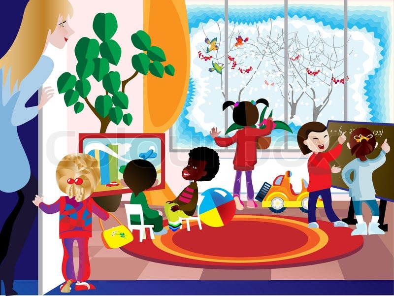 A Group Of Children Engaged In The Playroom Of The