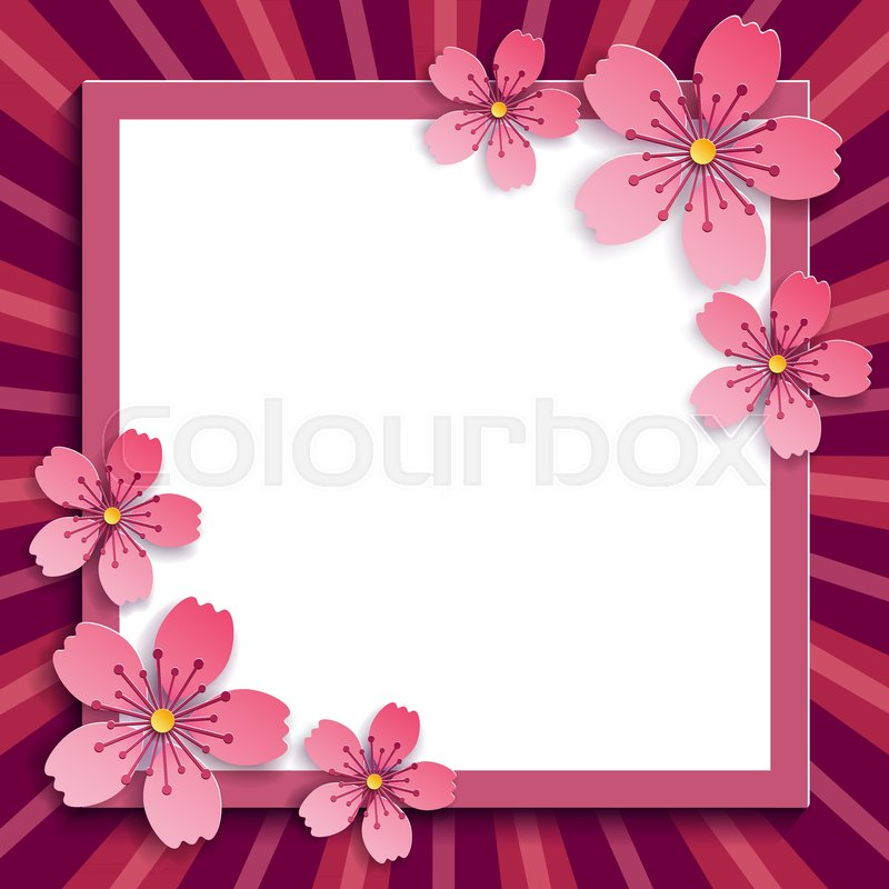 Beautiful floral trendy romantic frame with pink 3d sakura cutting ...