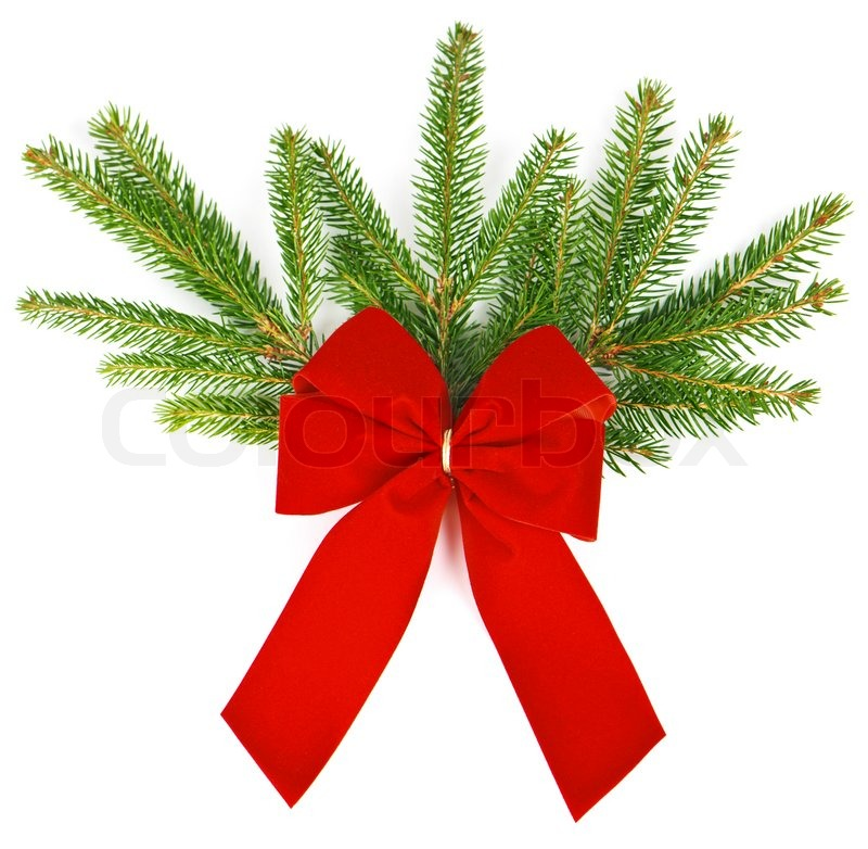 Christmas Tree With Red Ribbon: Red Ribbon Over The Branch Of Christmas ...