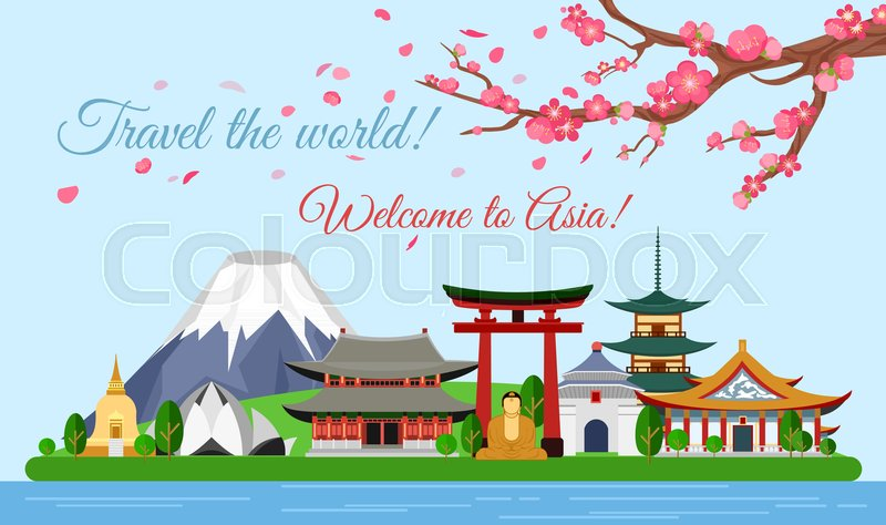 Vector illustration travel concept of Asia traveling, poster with famous Asian buildings, attractions, mountain, ancient temple, pagoda, Buddha, sakura. Discover new places, vector