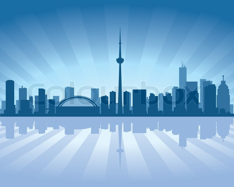 Toronto Skyline With Reflection In Stock Vector