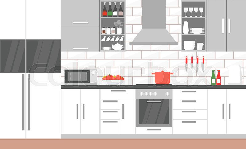 Vector Illustration Of Modern Kitchen Stock Vector Colourbox