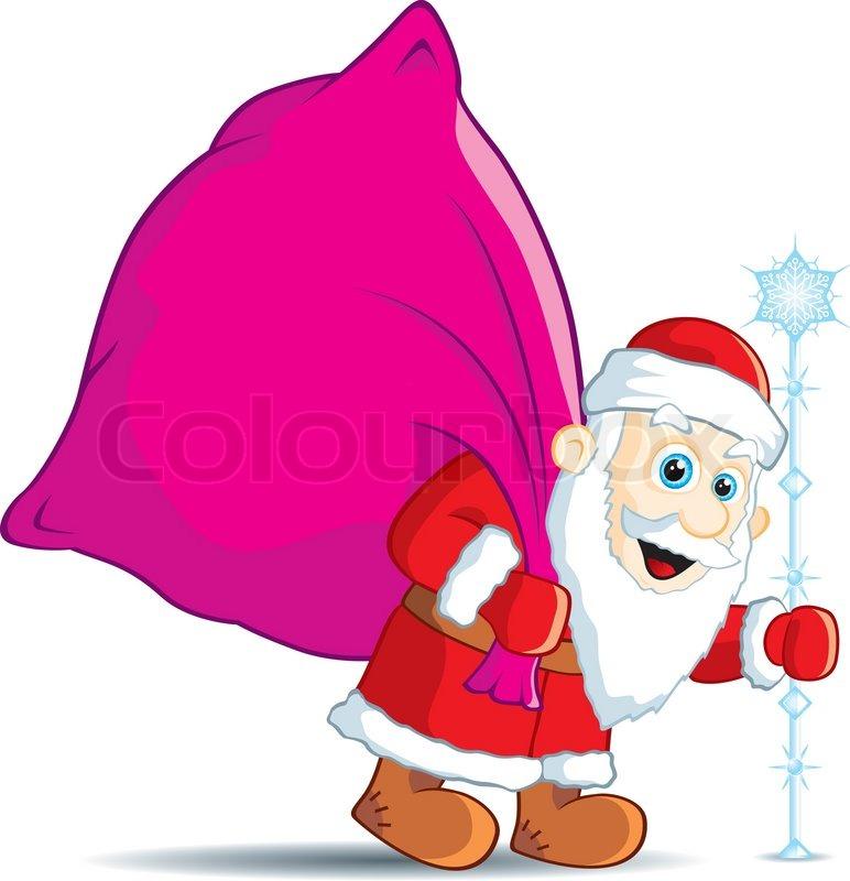 Weihnachten Santa Claus mit einem Sack von Geschenken | Vektorgrafik ...