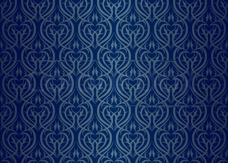 Navy blue and gold wallpaper
