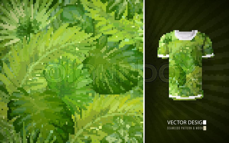 f82c132f0f5 Vector green Tropical palm leaves ...