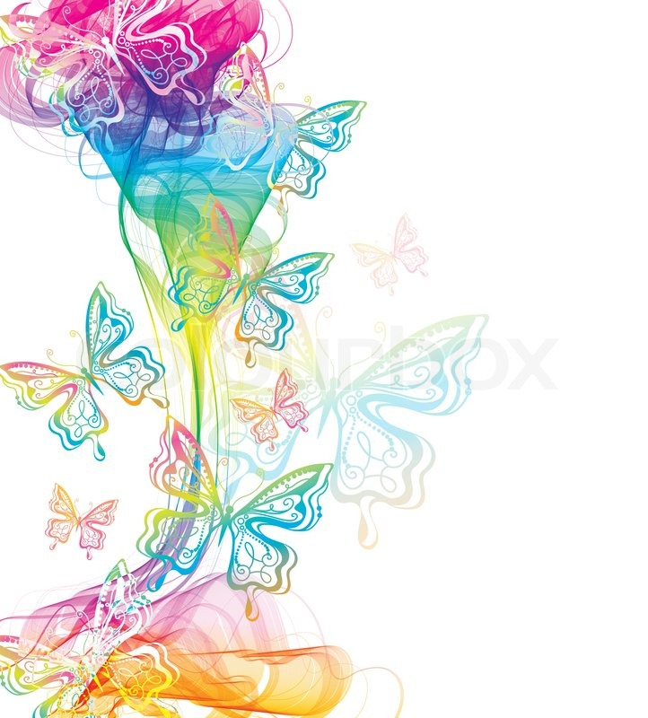 Colorful abstract background with butterfly and wave ...