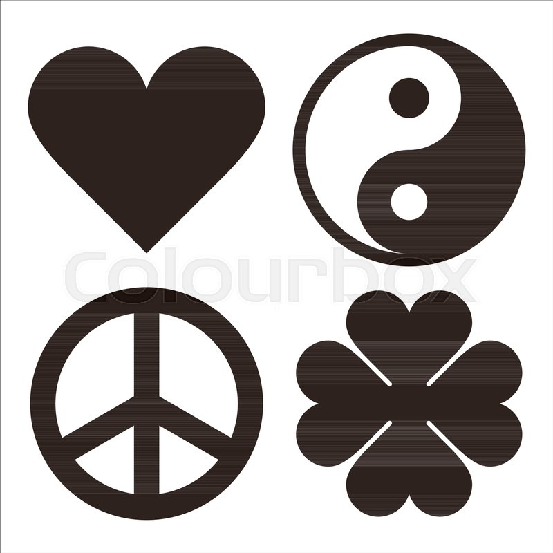 Heart Yin Yang Peace Symbol And Clover Symols Isolated On White