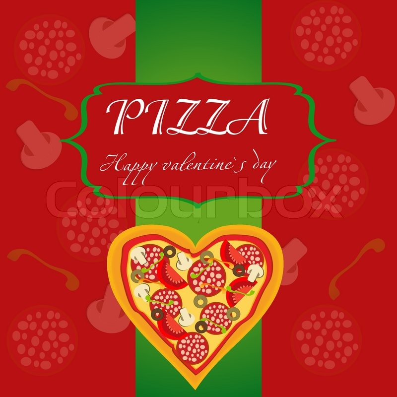 Pizza Menu Template On Valentines Day Vector Illustration