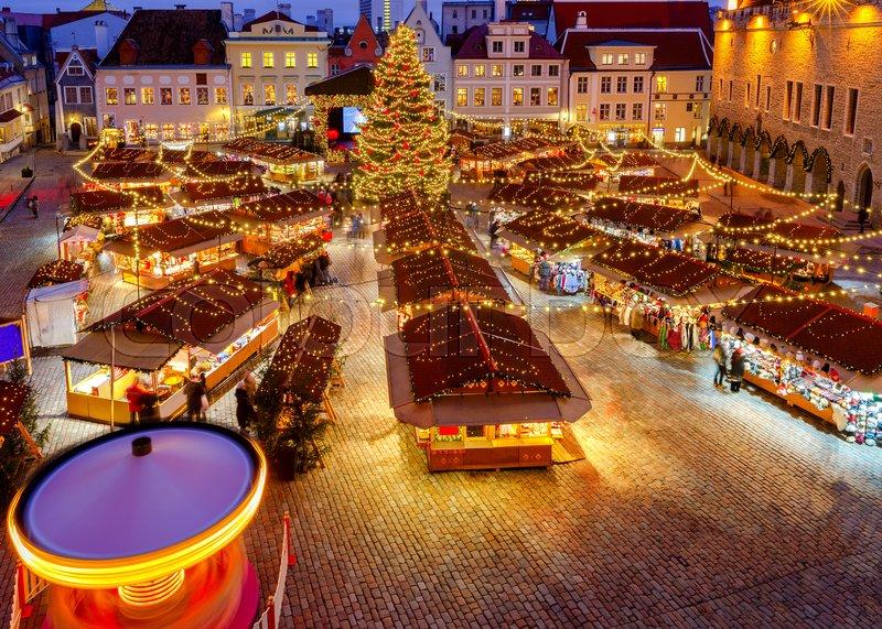 Christmas Fair and Christmas tree on the Town Hall Square. Tallinn. Estonia, stock photo