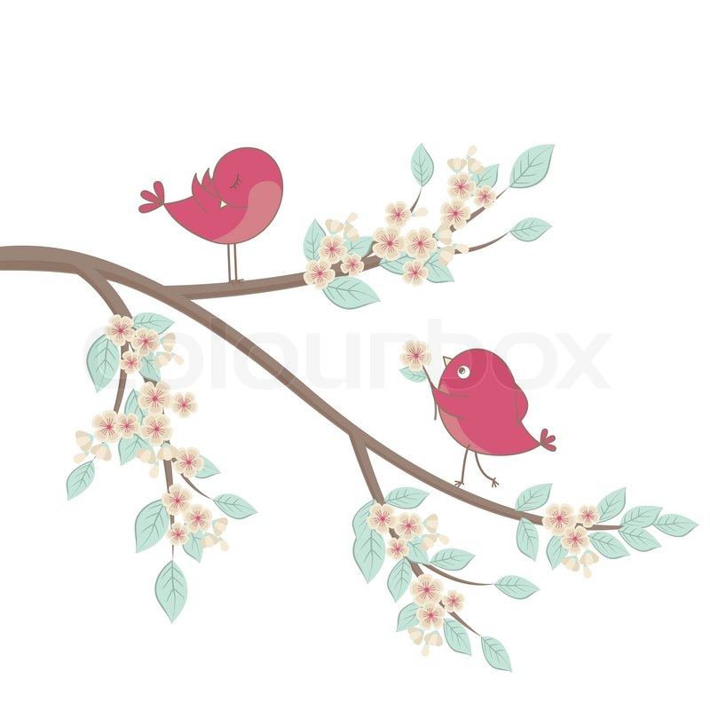 Cute pink birds on a branch with flowers stock vector colourbox mightylinksfo